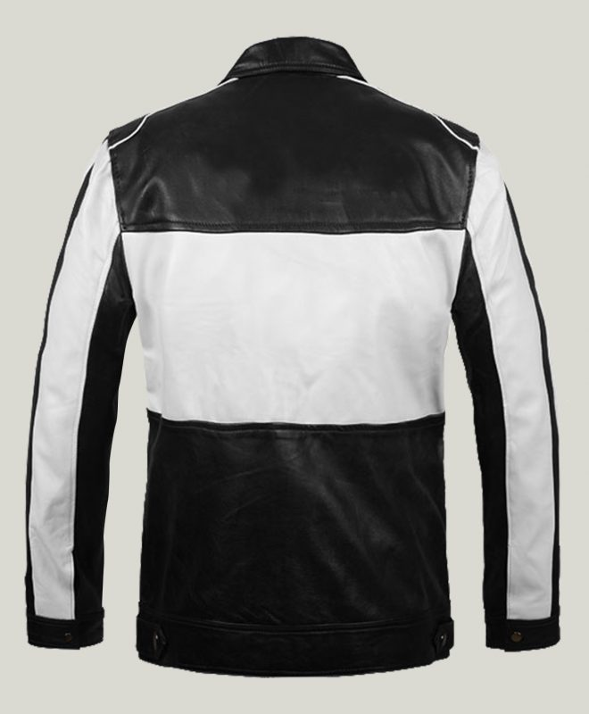 Ionic Black and White Leather Jacket For Men