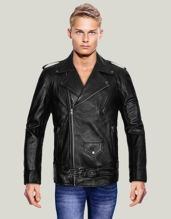 Asymmetric Style Slim Fit Leather Jacket