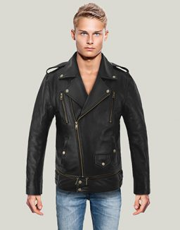 Black Sheepskin Biker Leather Jacket