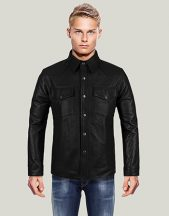 Men's Black Leather Shirt Jacket