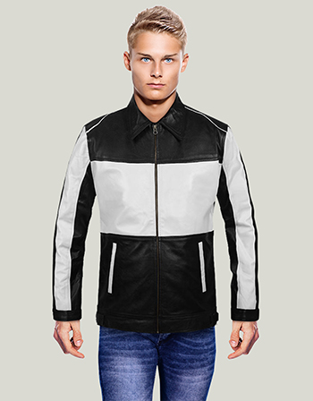 Black and White Leather Jacket For Men