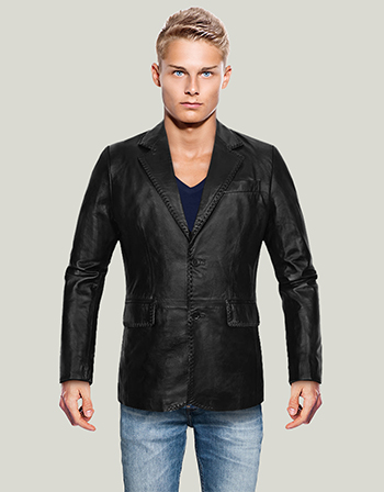 Two Button Black Leather Blazer for Mens