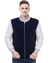 Blue Varsity Fleece Jacket For Men