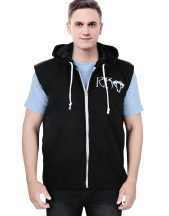 Men's Zip-Up Black Vest Hoodie