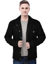 Men's Shirt Style Black Cotton Jacket