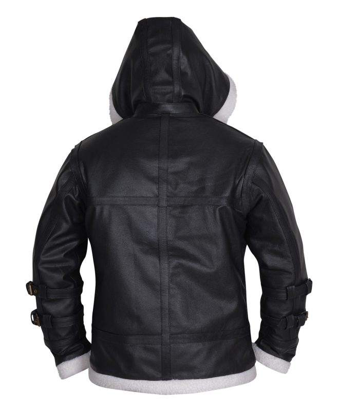 Real Shearling Sheepskin Leather Jacket with a Removable Hoodie