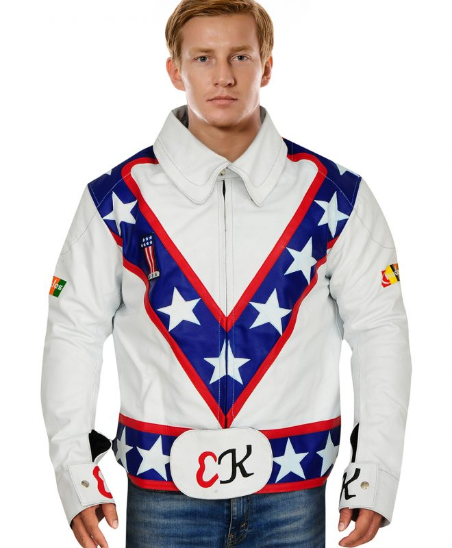 White Real Leather Jacket with Multi-Colored Pattern