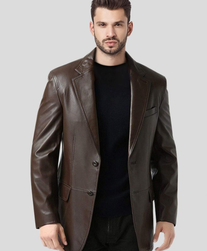 FAS356 Men's Single-Breasted Brown Leather Blazer Coat front