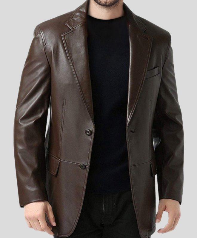 FAS356 Men's Single-Breasted Brown Leather Blazer Coat half front