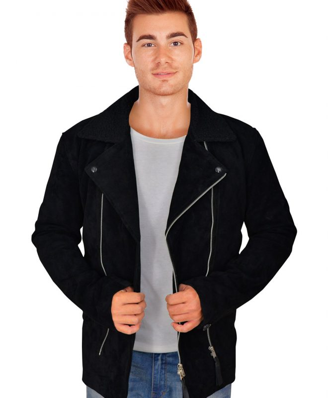 Men's Snazzy Black Suede Leather Jacket