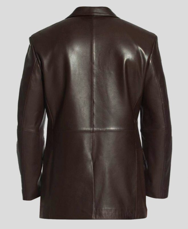 Men's Single-Breasted Brown Leather Blazer Coat