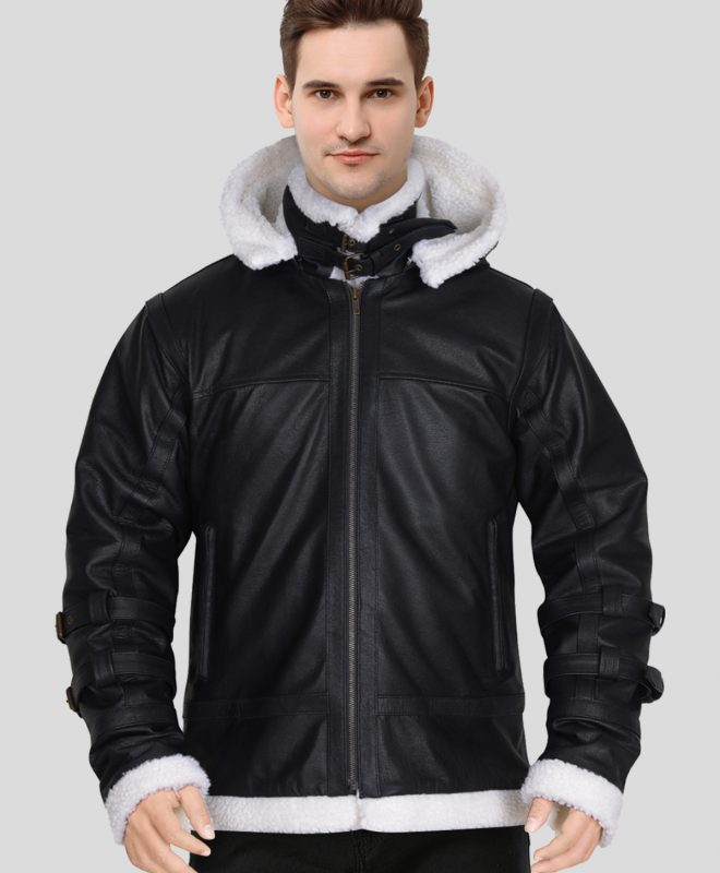 Men's Black Real Shearling Sheepskin Leather Jacket with a Removable Hoodie