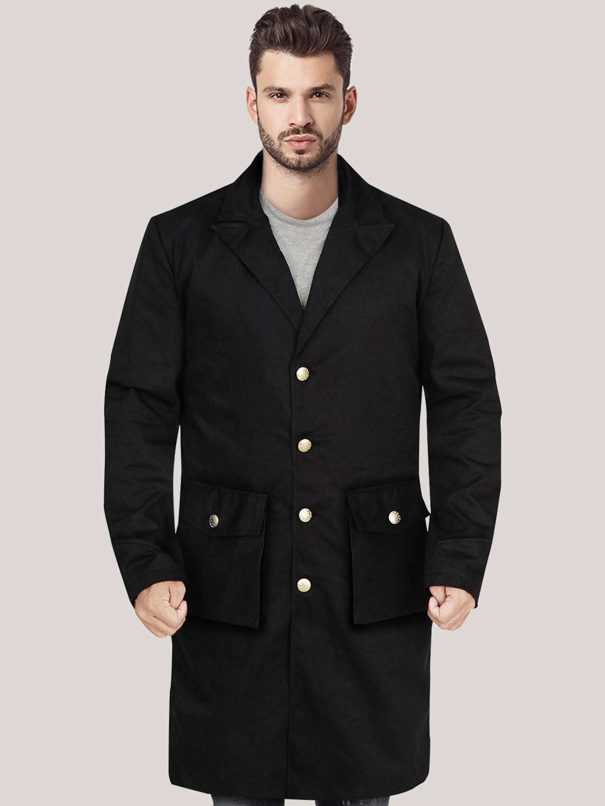 Men's Black Single Breasted Cotton and Wool Coat
