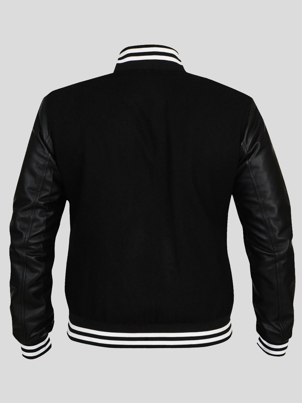 Men's Black Woolen Jacket with Ribbed Cuffs and Collars