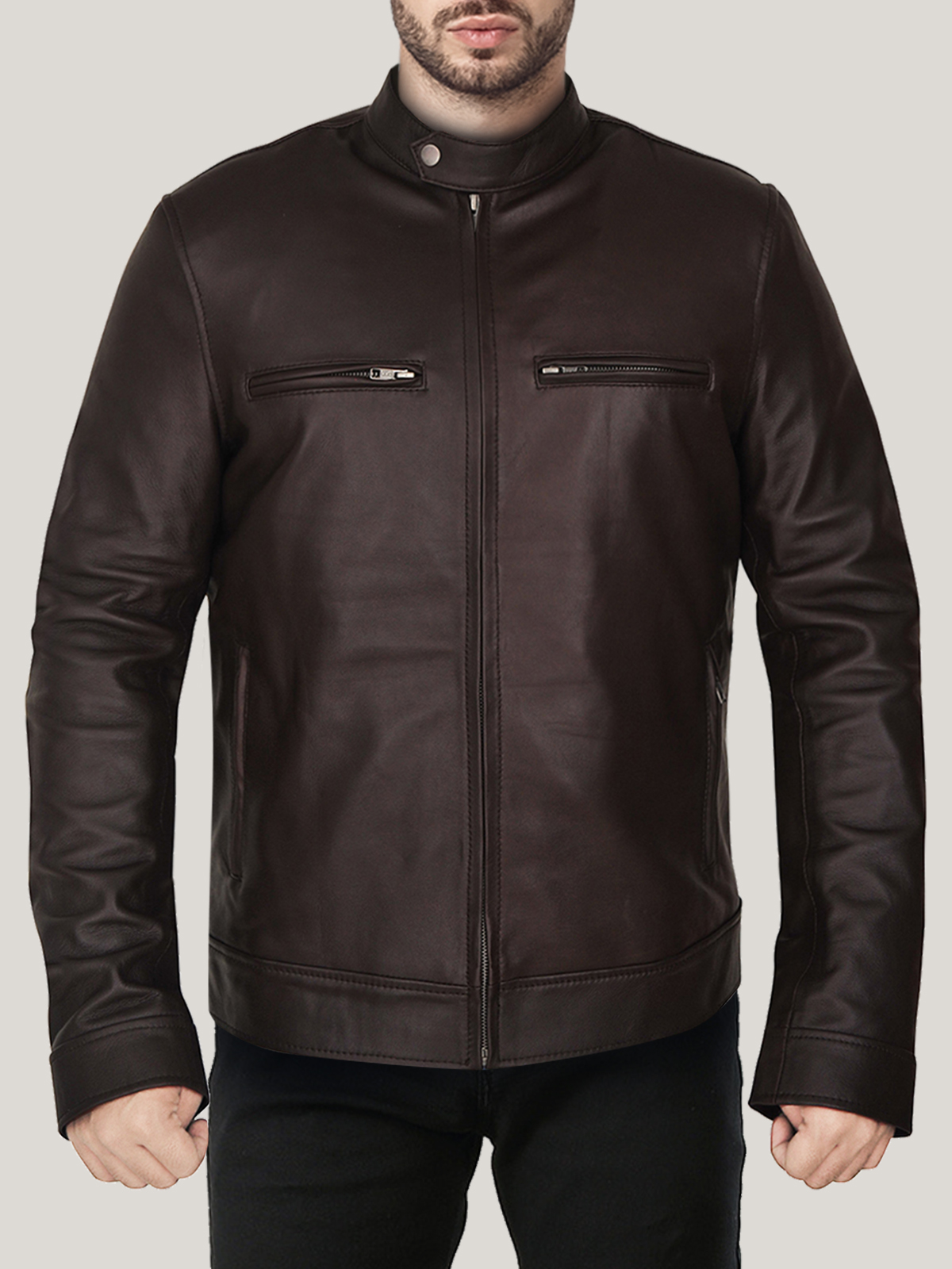 Men's Charming Dark Brown Leather Jacket