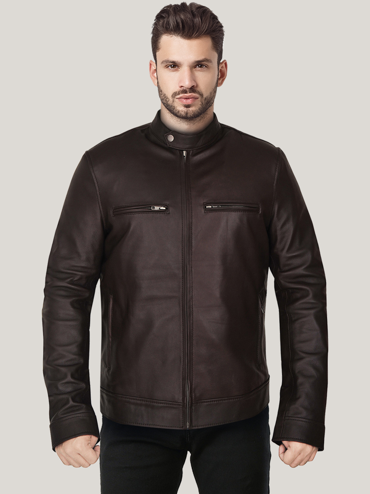 Mens-Charming-Dark-Brown-Leather-Jackett