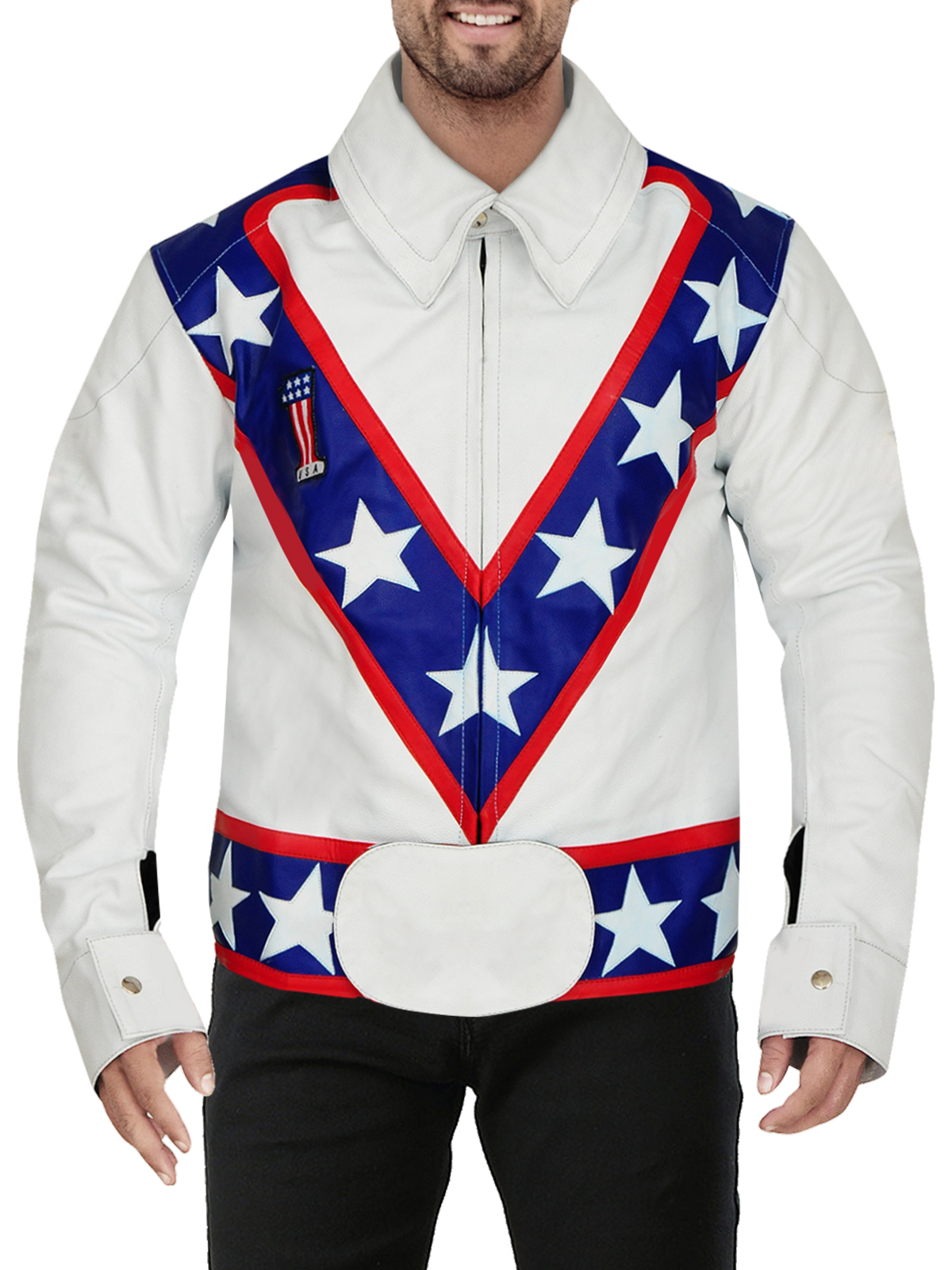 Men's White Real Leather Jacket with Multi-Colored Pattern