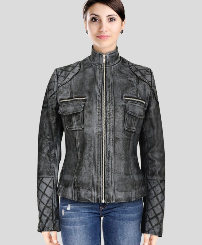 Women's Black Bomber Faux Leather Jacket with Pink Hoodie