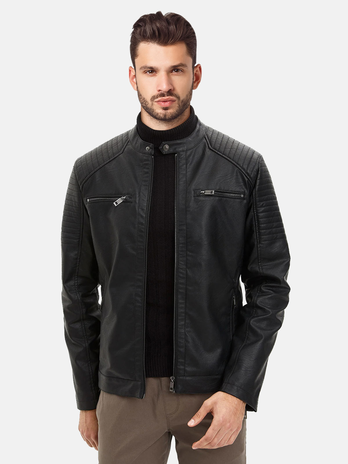Men's Motorcycle Black Real Leather Jacket front